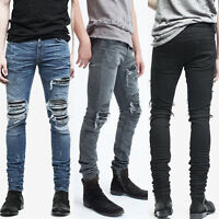 Men's Zipper Ankle Skinny Jeans Distressed Ripped Destroyed Wash Denim Fashion