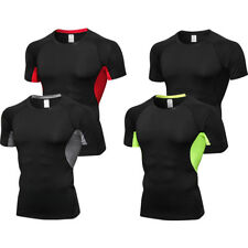 Mens Compression Shirts Workout Sports Short Sleeve Running Tee Cool dry Slim