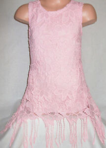 GIRLS 60s STYLE LIGHT PINK FLORAL LACE SPECIAL OCCASION PARTY DRESS TOP age 3-4