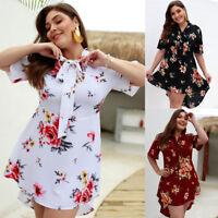 2019 Latest Sexy Women  Loose Irregular V-Neck Summer Floral Dress & Beach Skirt
