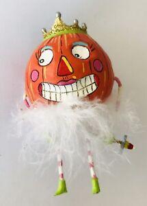 "Dept 56 Glitterville Pumpkin Princess Halloween Ornament Feathery Tutu 3"""