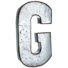"Large 20"" Silver Galvanized Vintage Metal Letter & Marquee ""G"". Monogram."