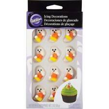 NIP-Wilton Halloween 24 Pc White Ghosts Candycorn Sugar Edible Icing Decorations