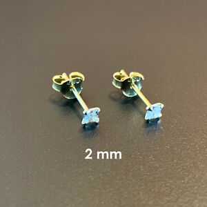 14k Gold over 925 Sterling Silver Square Cubic Zirconia Clear CZ Stud Earrings