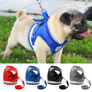 Mesh Dog Harness Leads Reflective Pet Puppy Cat Vest Jacket French Bulldog Pug