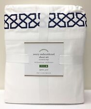 NEW Pottery Barn Avery Embroidered QUEEN Organic Sheet Set, TWILIGHT BLUE