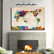Framed Canvas Prints Stretched Watercolor World Map Wall Art Home Decor Print