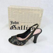 Luxury John Galliano Size 36,5 Ankle-Strap Sandal Heels Shoes Black New
