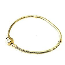 "Pandora 14K Solid Yellow Gold Charm Bracelet 7.5"" Inch Long"