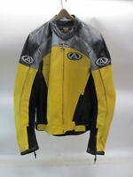AGV SPORT LEATHER MOTORCYCLE JACKET w/ BODY ARMOR - BLACK YELLOW - SIZE 48