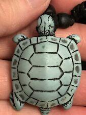 "Sea Turtle Yak Bone Turquoise Blue 18"" Adjustable Black Rope Necklace Y3"