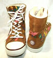 UGG SNEAKERS CHESTNUT Leather Suede Multi-Color SPLATTER High Top Womens Size 9