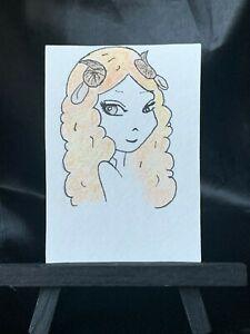 ACEO Original Ram Head Medium Black Ink Marker & Prismacolor on Paper Signed