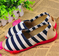Fashion Women Boat Flats Casual Low-cut Slip On Striped Canvas Espadrilles Shoes