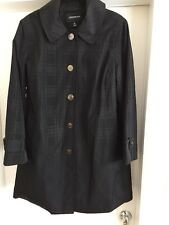 London Fog Rain Coat Fully Lined Button Snap Front Black XL