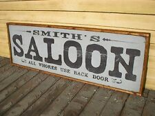 """PERSONALIZED WITH YOU NAME SALOON BAR OLD RUSTIC MAN CAVE WOODEN SIGN 36""""x12"""""""