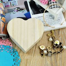 Heart Shape Jewelry Box DIY Toys Wooden Crafts Gift Box Art Decor