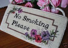 Handmade Wool Needlepoint Tapestry No Smoking Sign