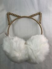 Girls Ladies Cat Ears White Ear Muffs Soft Cozy & Adorable Great Gift World Ship