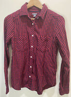 Aerie Women's Red Navy Plaid Flannel Button Down Shirt Soft Size Small S EUC