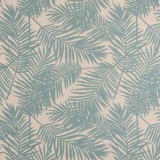 Gardinenstoff Dekostoff Palmen-Blätter beige hellblau 1,4cm Breite