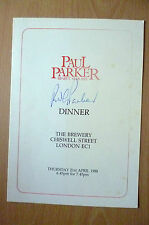 PAUL PARKER Benefit 1988 DINNER MENU- HAND SIGNED by PAUL PARKER(ORG) 21st April