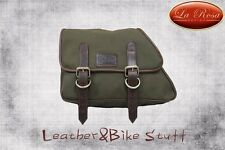 LaRosa 82-03 H-D Sportster Left Green Army Canvas Saddle Bag Swingarm