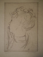 Gravure CUIVRE Japon Portrait Femme Chignon MAURICE BARRAUD Coll. FRANCIS CARCO