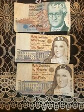 Old Irish Punt Notes 1 x £10 & 2 x £5
