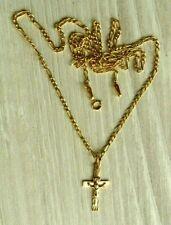Gold Kreuz mit langer Kette, Gold 585/ 14 Kt. Cross Kruzifix- Anhänger