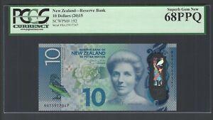 New Zealand 10 Dollars (2015) P192 Uncirculated Graded 68