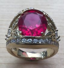 5.0ctw Gorgeous RUBY STONE & DIAMONIQUE RING SIZE #8