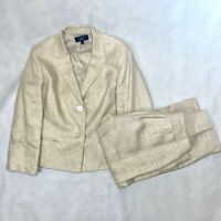 Talbots 2 Piece Tan Brown Career Suit Blazer and Pant Size 12