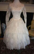 Vtg 50s Mori-Lee Lace Tea Wedding Dress Illusion Neck Sleeves Full Skirt Veil XS