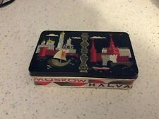 Vintage USSR Moscow Halva Tin in black with Cremlin and Red Square design