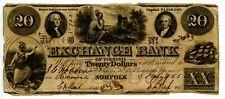 1855  $20  Exchange Bank Norfolk, Virginia