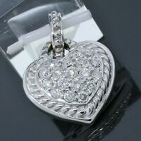 Judith Ripka 18K White Gold 1.00TCW Pave Diamond Heart Pendant Enhancer