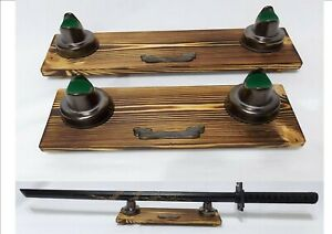 Wood & metallic bronze ceramic single Sword stand Samurai sword Display unit x
