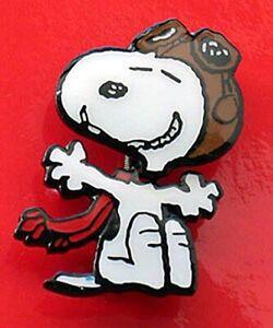 Snoopy Red Baron enamel pin Peanuts Flying Ace dog pilot hat lapel retro plane