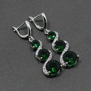 Beautiful Green Emerald & White Topaz Sterling Silver Drop Dangle Round Earrings