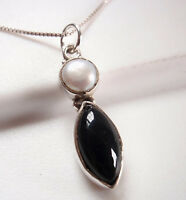 Cultured Pearl and Black Onyx Marquise 925 Sterling Silver Pendant Corona Sun