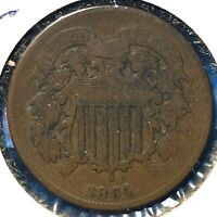 1864 2C Two Cent Piece, Large Motto (60969)