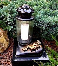 Grablaterne Grablampe Grableuchte Grablicht Led Kerze Grab Bronze Engel Rose NEU