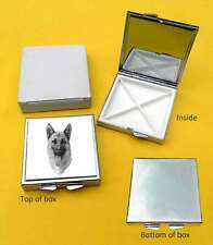 Alsatian/ German Shepherd Dog Polished Metal Square Pill Box Gift