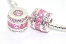 Solid 925 Sterling Silver Baguette Cut Pink Cubic Zirconia Charm for Bracelet