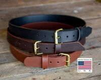 """1 1/2"""" HEAVY DUTY LEATHER  BELT WITH GOLD BUCKLE CCW TOOL HIGH QUALITY TOP GRAIN"""