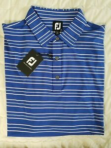 1 NWT FOOTJOY MEN'S POLO, SIZE: X-LARGE, COLOR: BLUE/GRAY/PINK STRIPED (J59)