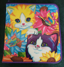 Lisa Frank Cat Zipper 3 Ring Binder Sunflower Butterfly Kitten KItty Zippered