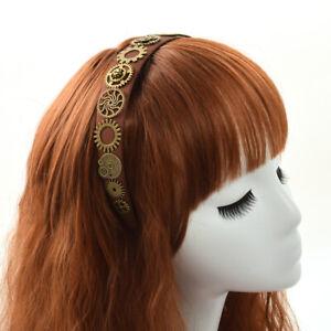 Steampunk Party Gears Chain Tassel Hair Band Women's Brown Costume Headband