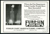 1927 Sherry-Netherland Hotel fire photo Furolin Furo-Lin fireproof paint NYC ad